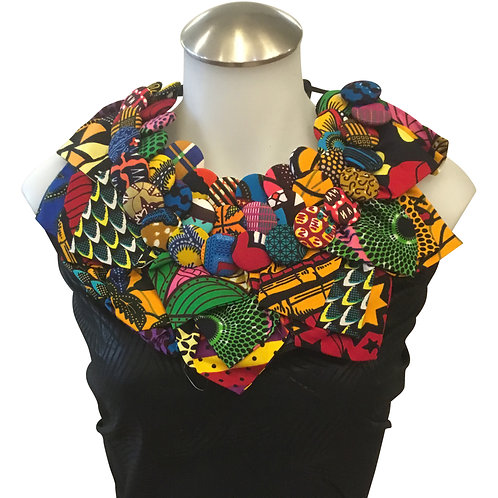 African Print Fabric Button Leaves Bib Necklace #9
