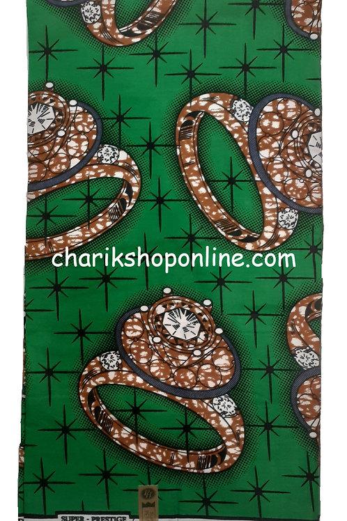 African Wax Print 6 yards/ Ankara fabric/ Green Ring ankara/