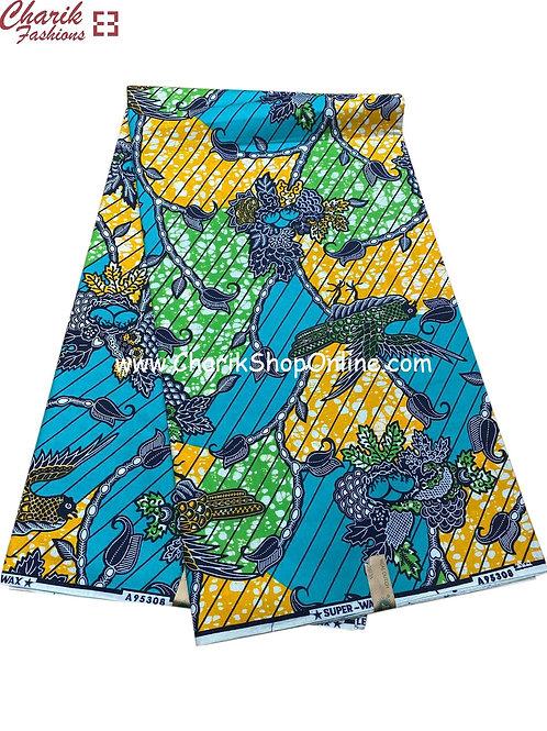 African Wax Print  6 yards/ Ankara fabric/ Bloom Blue ankara/