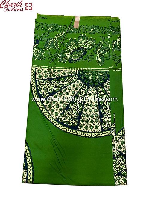 African Wax Print  6 yards/ Ankara fabric/ Green Wheel ankara/
