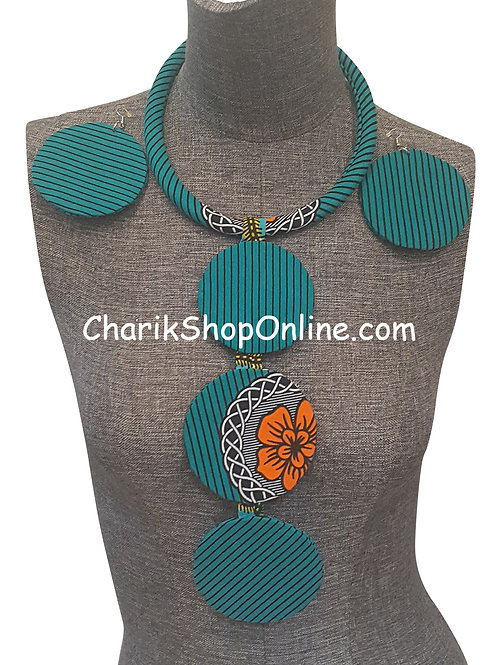 Ankara Print Teal Tribal Necklace with Matching Earrings