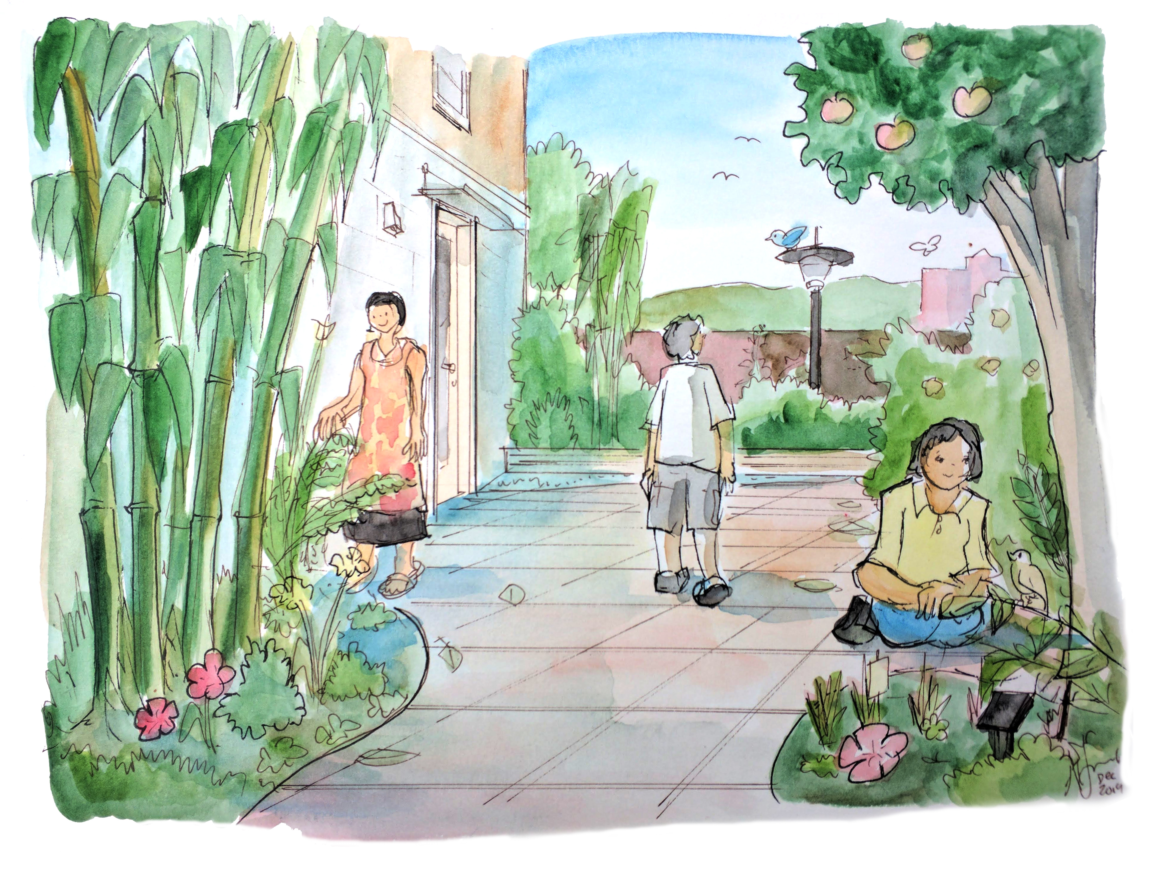 sensory garden sketch with young women sitting down, a lady water plants, and man walking through th