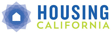 """Housing"" in blue and ""California"" in green with blue shaded icon with home in center on left."