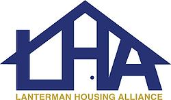 """LHA"" in navy blue the shape of traditional house with ""Lanterman Housing Alliance"" below in gold"