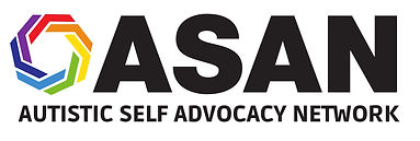 ASAN: Autistic Self Advocacy Network in black color. Multicolor icon to left.