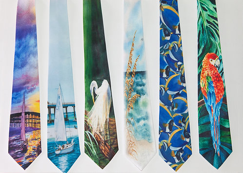 Men's Tie with Coastal Art ....Art You can Wear