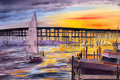 """Coastal Sunset"" on the Harbor Original Watercolor"