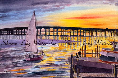 Coastal Sunset in Harbor Print 16x20