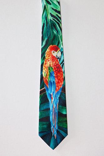 Men's Silk Tie Tropical Bird Parrot McCaw