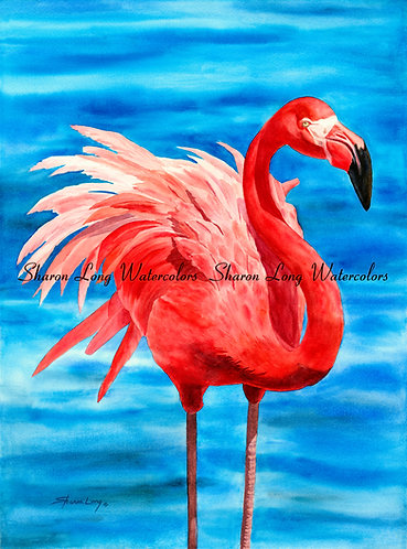 """Fancy Feathers"" Original Watercolor 30x22 Pink Flamingo"