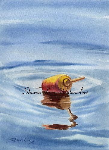 """Got Your Spot"" Original Watercolor of Buoy Framed"