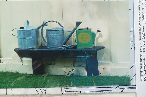 Metal Watering Cans on Bench Painting Kit