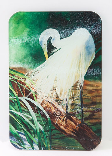 Glass Cutting Board with White Egret on Green Background SMALL