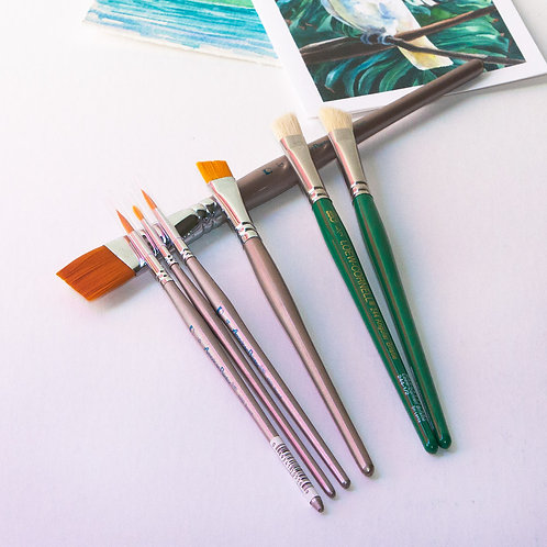First 7 Brush Set for Watercolor Painting