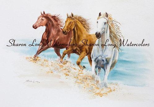 """""""Horse Power"""" Framed Print 16x20 of horses running on the beach"""