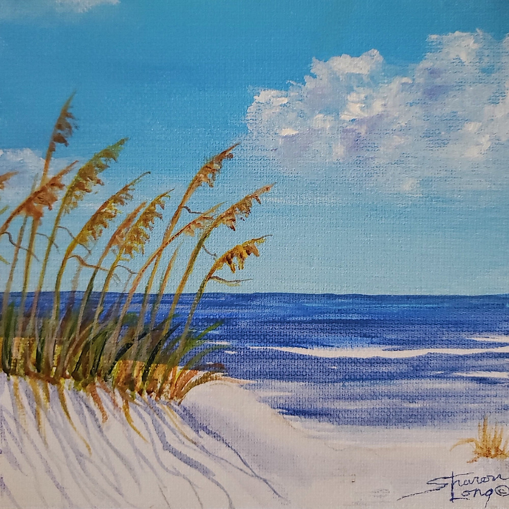 Little Beach View Acrylic 12x12 canvas