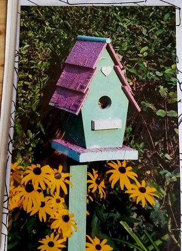 Green and Purple Bird house wood