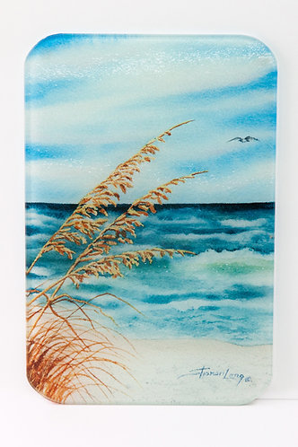 Glass Cutting Board with Sea Oats Painting Theme SMALL