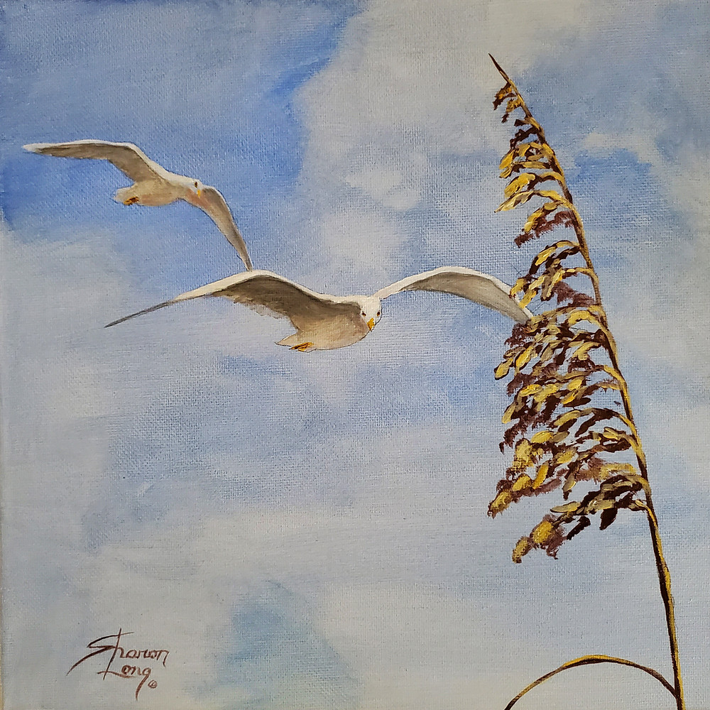 """Flying High"" Seagulls and Sea Oat by Sharon Long"