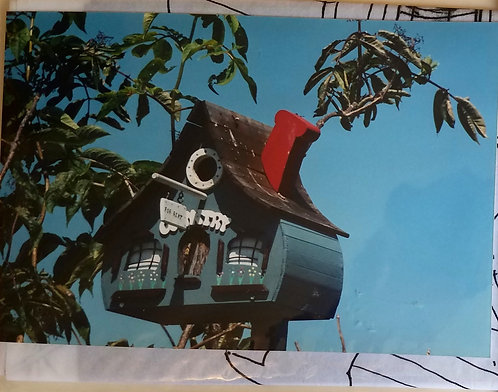 Bird House with Red Chimney, Comical Wood Birdhouse