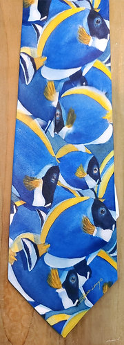 Tropical Fish Tie for Men featuring Tangs, Blue and Yellow Fish