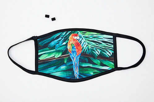 Rainbow Parrot Head Themed Face Mask