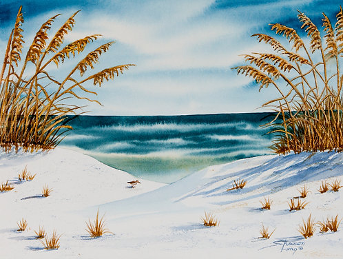"""""""Looking for Lunch"""" New Beach Scene Original Watercolor"""