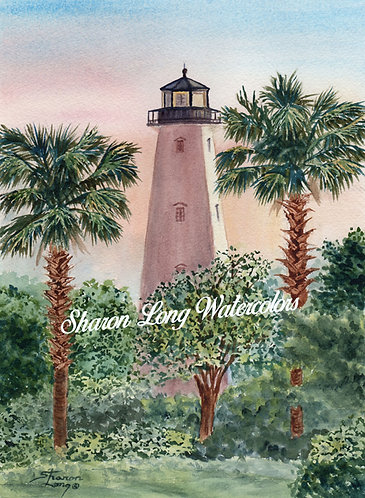 """Sunset in Gulfport"" Original Watercolor Light house"