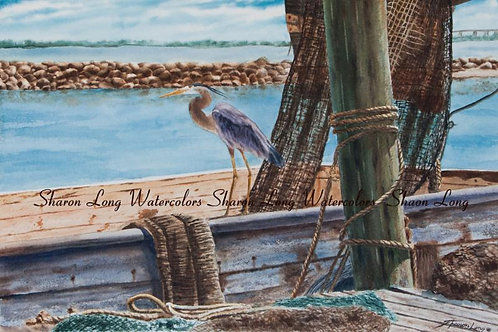 """Waiting for the Catch"" Original Watercolor of Blue Heron"