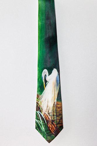 Egret Bird Tie for Men Elegant Plush Green Background