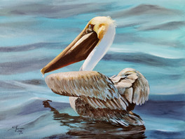 "Just Finished! Pelican Floating on Water called ""Oscar Out To Dry""."