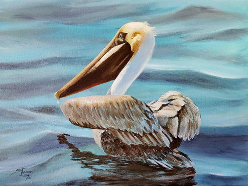 Oscar Out To Dry Acrylic of Brown Pelican Floating in Water