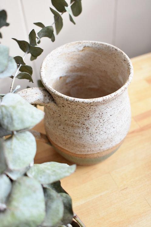 Two toned sage and white pebble mug