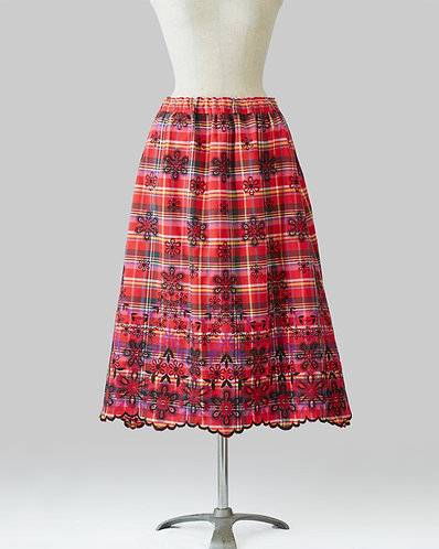 Embroidered Checked Skirt