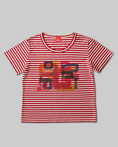 Rough Square T-Shirt Red & Ivory Border
