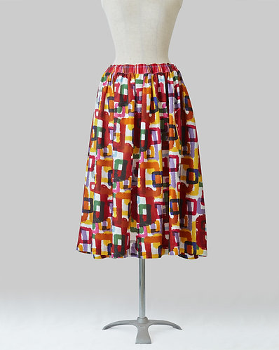 Rough Square Print Skirt