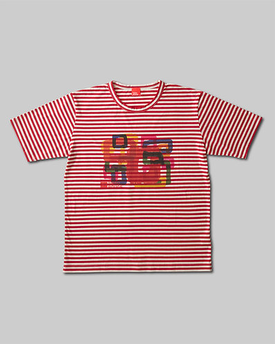 Rough Square T-Shirt Red & Ivory Border HOMME