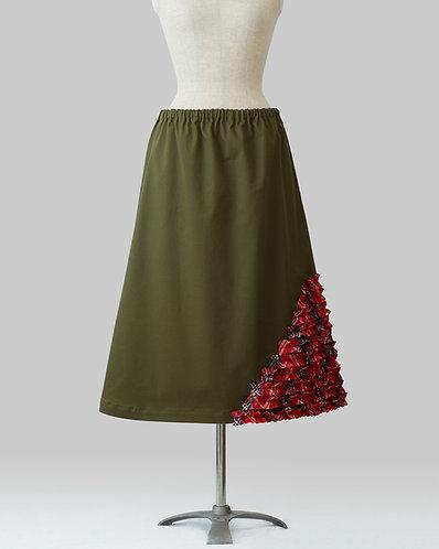 Slash Frill Skirt Khaki