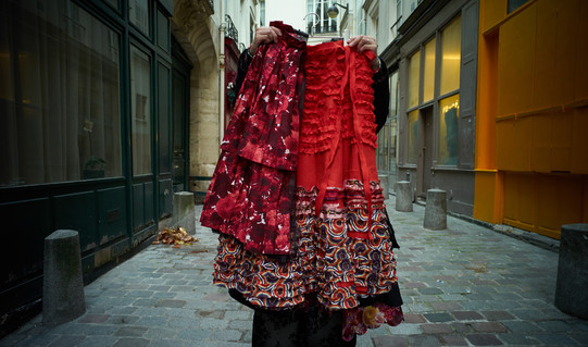 Frilled Skirt Red & Bloom Print Cotton Lawn Pleated Apron Red