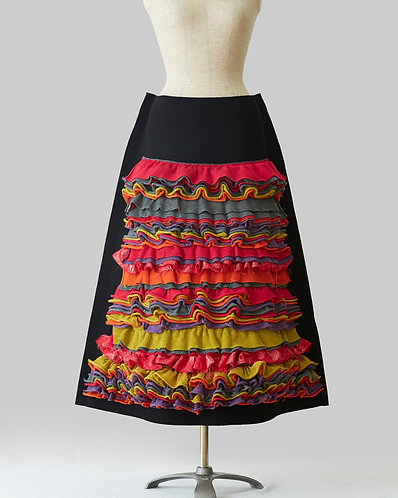 Knit Frilled Skirt Multi Color