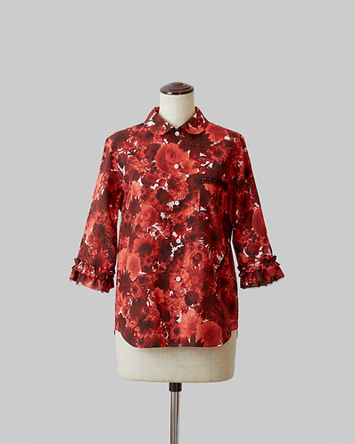 Frilled Sleeve Bloom Shirt Red
