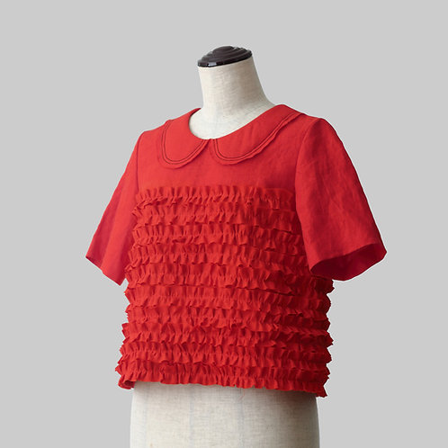 Linen Frilled Blouse Red 2