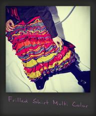 Herringbone Jacket +Frilled Skirt Multi Color