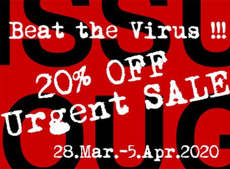 """""""Beat the Virus!!!""""セール、本日まで!"""