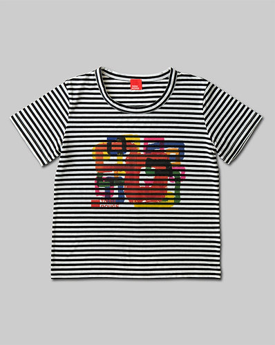 Rough Square T-Shirt Black & White Border