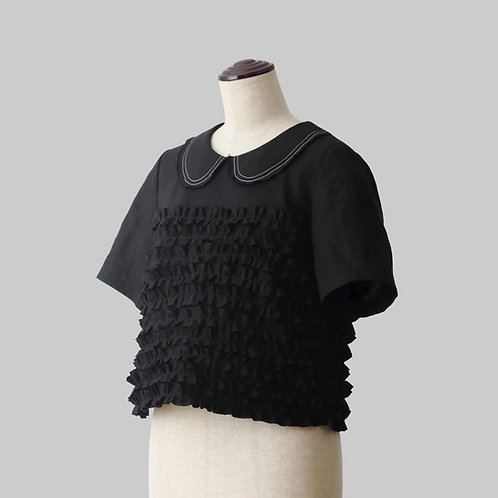 Linen Frilled Blouse Black