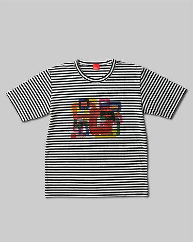 Rough Square T-Shirt Black & White Border HOMME