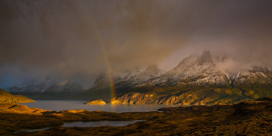 Patagonia torres del paine with snow and rainbow