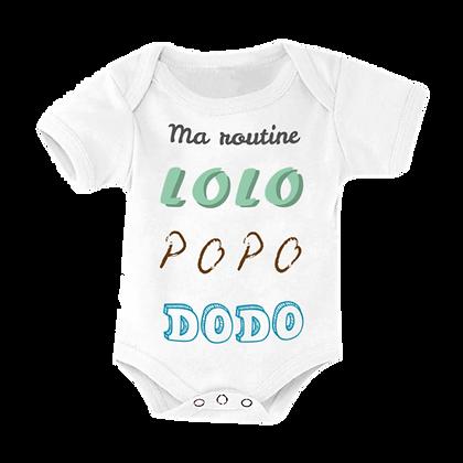 "Body bébé marqué : ""Ma routine, lolo popo dodo"" impression pas cher"