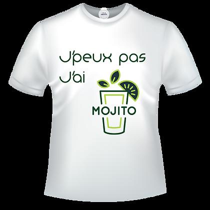 T-shirt j'peux pas j'ai mojito avec illustration vert et jaune pas cher